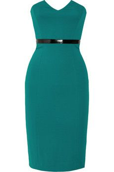 Catherine Malandrino strapless stretch-jersey dress in dark-turquoise Black patent faux leather waistband, back vent; Exposed zip fastening along back Designer Clothes Sale, Discount Designer Clothes, Designer Dresses, Chic Outfits, Dress Outfits, Plus Size Dresses, Dresses For Work, Catherine Malandrino, Green Fashion