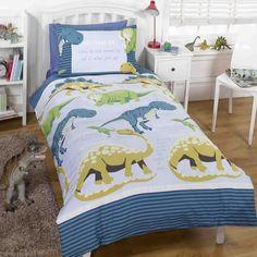 Dinosaur Facts Toddler Bedding - Blue