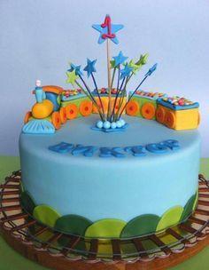 Powder blue train theme birthday cake with tracks for one-year-old.JPG
