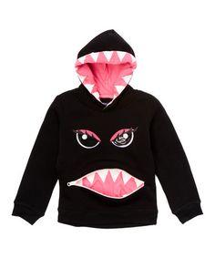 Look at this #zulilyfind! Black & Pink Monster Zip-Front Hoodie - Toddler & Girls #zulilyfinds