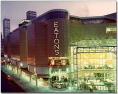 This picture from Vintage Toronto shows the Eaton Centre in the year it opened at Toronto's Yonge and Dundas intersection. The name stayed the same, but Eatons department store went out of business in Old Photos, Vintage Photos, Toronto Ontario Canada, Toronto City, Downtown Toronto, Eaton Centre, Canadian Things, Nostalgia, Toronto Photos