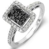 Share 0.55 Carat (ctw) 10k White Gold Black & White Round Diamond Ladies Cocktail Right Hand Ring - Dazzling Rock #https://www.pinterest.com/dazzlingrock/