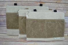 Waxed Canvas & Linen Laptop sleeve / 13 15 17  Zipper by DarbyMack