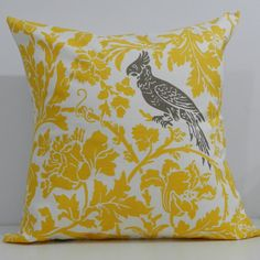 New 18x18 inch Designer Handmade Pillow by milkandcookiesCanada, $20.00-- This would be such a cute accent piece for my Grey, white, navy blue and yellow bedroom.