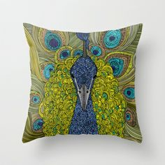 Mr. Pavo Real Throw Pillow by Valentina - $20.00 #colorful #peacock