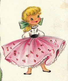 〆(⸅᷇˾ͨ⸅᷆ ˡ᷅ͮ˒).                                                     Vintage 1950s Greeting  Card