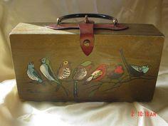 Vintage hand painted box purse-Enid Collins