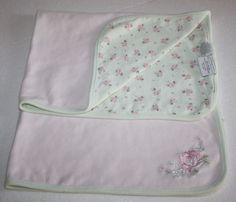 First Impressions for Macys Baby Girl's Blanket Pink ROSES Flowers and Green with white polka dots. Nice Reversible Cotton Receiving Swaddling baby blanket. #FirstImpressions #CabbageRoses #ShabbyChic