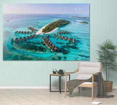 Beach Decor Beach Print Beach Art Beach Wall Art Beach Photography Maldives Canvas Maldive Honeymoon Maldive Wedding Backdrop Palm by ArtWog Beach Wall Decor, Office Wall Decor, South Beach Florida, Oversized Wall Art, Thing 1, Colorful Wall Art, Beach Print, Ocean Photography, Ocean Art