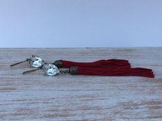 Gorgeous Swarovski Earrings - Deep Red Tassel Earrings - Teardrop - Handmade Boho Chic Earrings - Antiqued