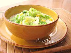 ∮春キャベツとコーンღ豆乳のお味噌汁∮の画像