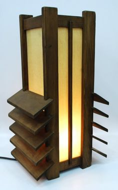 Designer & Manufacturer: Frank Lloyd Wright Markings: none Country of Origin & Materials: USA; wood, other Additional. on Apr 2011 Lamp Design, Lighting Design, Craftsman Lighting, Japanese Lamps, Palmer House, Craftsman Furniture, Wood Lamps, Frank Lloyd Wright, Wooden Art