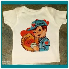 "Every baby & kid needs the appropriate Valentines Day attire for that special Holiday & lucky you, you've stumbled upon the best supplier of these t shirts & one piece #baby bodysuits!  This cutie came from a #vintage #Valentine from the 1940's, I believe.  It features a freckled face, #baseball loving cutie that says, ""I'm a good catch"".  It is too cute for words!  I am a HUGE fan of vintage & decided to go through and scan some of Granny's old Valentine's out of the old keepsake trunk…"