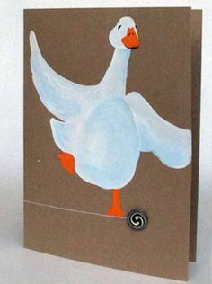 Goose on a button by fmhandpaintedcards on Etsy Paint Cards, Button Art, Hand Painted, Buttons, Disney Characters, Unique Jewelry, Handmade Gifts, Prints, Etsy