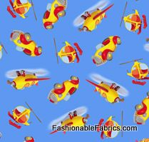 Fabric... Noddy Vehicals on Blue by Quilting Treasures