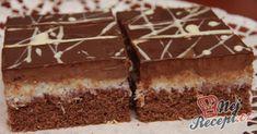 Čokoládové řezy s kokosem European Dishes, Eastern European Recipes, Sweet Desserts, Sweet Recipes, Czech Recipes, Pastry Cake, Sweet Cakes, Desert Recipes, Food To Make