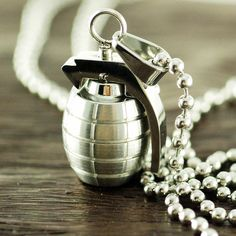 Mens Jewelry Mens necklace Gift for HimHand Grenade by luckyhorn, $38.00