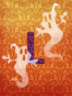 Halloween Ghost Letter L Monogram Initial Flag Canvas House Size