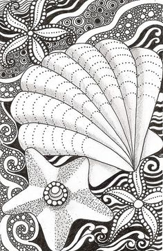 Zentangle Starfish Coloring Pages For Adults - Coloring Ideas Zentangle Drawings, Doodles Zentangles, Zentangle Patterns, Doodle Drawings, Doodle Art, Zen Doodle Patterns, Doodle Borders, Colouring Pages, Adult Coloring Pages