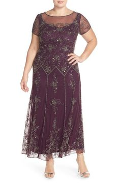 Pisarro Nights Illusion Neck Beaded A-Line Gown (Plus Size) available at #Nordstrom