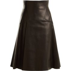 Alexander McQueen High-rise leather A-line skirt ($3,310) ❤ liked on Polyvore featuring skirts, black, knee length leather skirt, high waisted leather skirt, genuine leather skirt, a-line skirts and alexander mcqueen