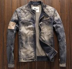 Top Quality Long Sleeve O-Neck Zipper Fly Denim Jackets - ifashionova Denim Jacket Fashion, Denim Jacket Men, Denim Jackets, Men's Denim, Denim Coat, Slim Fit Mens Jeans, Dress Suits For Men, Smart Casual Outfit, Casual Outfits