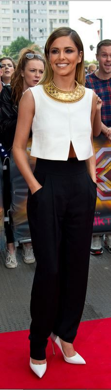 Who made Cheryl Cole�s white cropped top, gold necklace, and black pants
