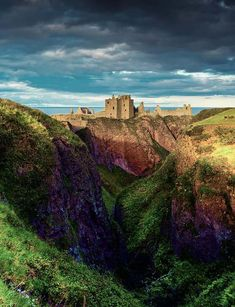 Dunnottar Castle, Scotland - is a ruined medieval fortress located upon a rocky headland  . The surviving buildings are largely of the 15th and 16th centuries, but the site is believed to have been fortified in the Early Middle Ages