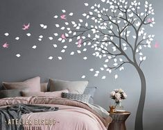 Bending tree in the wind with birds and loose leaves wall decal dark grey tree nursery wall sticker pink wall mural wand ideen Albero della foresta del gufo con foglie e birdhouse parete decal grigio albero grigio vivaio parete parete adesivo parete Bird Wall Decals, Nursery Wall Stickers, Bedroom Wall Designs, Bedroom Decor, Blowing Wind, Wall Painting Decor, Pink Walls, Girl Room, Wall Murals