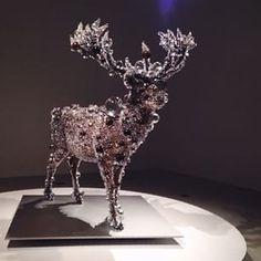 """Instagram photo by fevvr - Crystal encrusted taxidermied deer. Kohei Nawa, """"Pixcell Deer #24"""", 2011."""