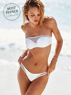 We're always fans of the little white bikini, but who knew mesh could be this hot? | Victoria's Secret The Mesh Beach Bandeau