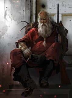 Amazing Digital Illustrations by Adams Brenoch Character: Pert Smith Character Concept, Character Art, Concept Art, Dark Christmas, Christmas Art, Father Christmas, Xmas, New Lara Croft, Bad Santa