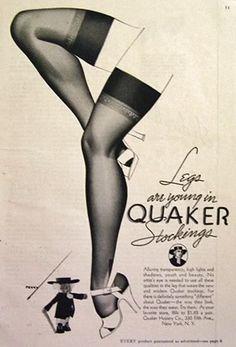 ✿ 1937 Quaker Stockings Ad ~ George Petty Art ✿