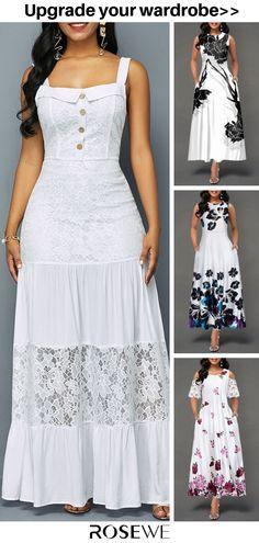 Hot Sale & Lace Patchwork Ruffle Hem Button Detail Dress - Another! Posh Dresses, Cute Dresses, Casual Dresses, Fashion Dresses, Summer Dresses, Moda Xl, White Dresses For Women, Vestidos Vintage, Dress Tutorials