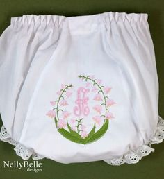 The Lily of the Valley monogram on bloomers. NellyBelle Designs