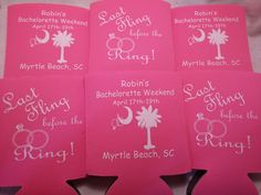 Last Fling before the ring!   Custom Bachelorette Koozies by Odyssey Custom Designs #Bachelorette #BacheloretteParty #CustomKoozies