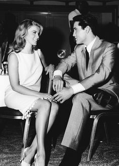 "Elvis and Ann-Margret on the set of ""Viva Las Vegas"", one of the most beautiful couples ever.."
