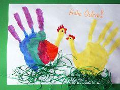 Frohe Ostern - Handabdruck als Hahne & Henne