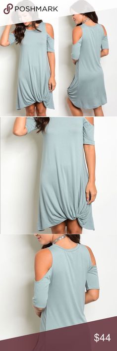 **Coming Soon** Sage Cold Shoulder Dress Super soft and super cute!! Not to mention, suuuuper comfy!! A beautiful breezy dress. Front knot, cold shoulders. 50% rayon, 30% polyester, 20% nylon. Kyoot Klothing Dresses