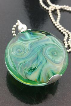 Sea Green Ocean Swirl Pendant Handmade Lampwork by RASPBERRYRINGS