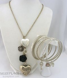 Silver Tone Chain Heart Locket Flower Crystal Pendant 7 Bangle Bracelets Charms SuzePlace.com