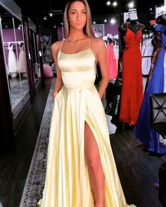 This design makes the yellow long prom dress with slit more charming and eye-catching. Beautiful Prom Dresses in the Latest Styles at Amazing Prices. Discount Dresses for Prom in Trendy Styles. Shop Cutout, Lace, Cut Outs & More. Grad Dresses Long, Navy Blue Prom Dresses, Cute Prom Dresses, Prom Outfits, Mode Outfits, Dance Dresses, Pretty Dresses, Beautiful Dresses, Straps Prom Dresses