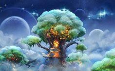 Fantasia, Arte, albero, Elven Foresta, loggia, Flete, cielo, Stella, drago, volo, Pianeta, nuvole