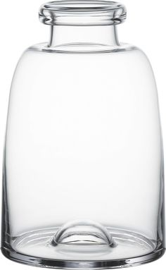 Milk-bottle curves streamline in clear, handcrafted glass fashioned with a dramatic rim and raised bubble detail on the base.  Made for us exclusively by Krosno, a glass collective dating back to 1923. HandcraftedGlassHand washMade in Poland.