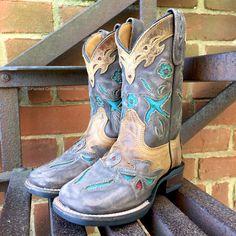 Dan Post Kid's Cowboy Certified Beige Blue Bird Leather Western Boots DPC2928