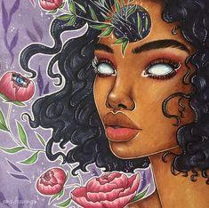 Trippy Drawings, Psychedelic Drawings, Art Drawings Sketches, Black Love Art, Black Girl Art, Art Girl, Arte Dope, Dope Art, Foto Cartoon
