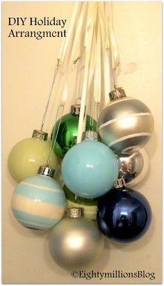Eightymillion: DIY: Inexpensive Holiday Arrangement Of Ornaments  #DIY #CheapHolidayDecor #Christmas