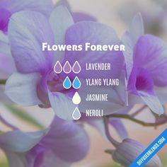 Flowers Forever Essential Oil Blend Recipe: 3 drops Lavender, 2 drops Ylang Ylang, 1 drop Jasmine, 1 drop Neroli