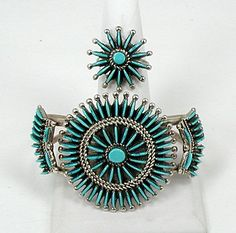 Native American Zuni Indian turquoise needlepoint bracelet and ring set
