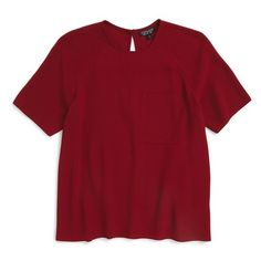 Topshop Crepe Pocket Tee ($60) ❤ liked on Polyvore featuring tops, t-shirts, shirts, tees, burgundy, burgundy shirt, red t shirt, crew t shirt, pocket tee and burgundy t shirt